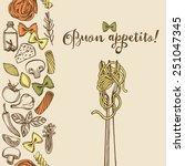 hand drawn italian pasta... | Shutterstock .eps vector #251047345