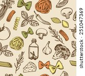 hand drawn italian pasta... | Shutterstock .eps vector #251047369
