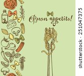 hand drawn italian pasta... | Shutterstock .eps vector #251047375