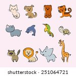 cartoon animals set of colored... | Shutterstock .eps vector #251064721