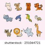 cartoon animals set of colored... | Shutterstock .eps vector #251064721