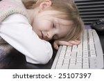 girl sleep at the computer... | Shutterstock . vector #25107397
