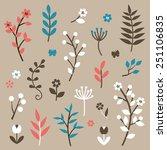 leaf and flower elements | Shutterstock .eps vector #251106835