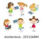 kids with gadgets | Shutterstock .eps vector #251126884