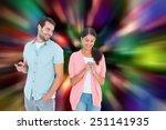 happy couple sending text... | Shutterstock . vector #251141935