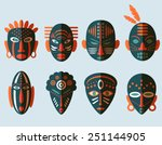 african mask icons. flat design.... | Shutterstock .eps vector #251144905