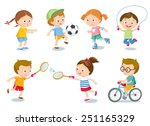 kids and sport | Shutterstock .eps vector #251165329