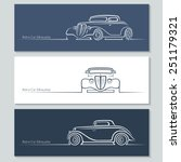 set of vintage car silhouettes. ... | Shutterstock .eps vector #251179321