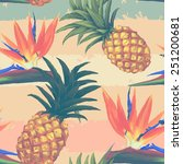 tropical exotic flowers and... | Shutterstock .eps vector #251200681