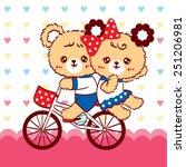 cute couple bear cartoon ride... | Shutterstock .eps vector #251206981