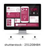 ui flat design on monitor...