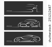 Stock vector set of modern car silhouettes sports car in three angles vector illustration 251212687