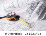 tape measure over a... | Shutterstock . vector #251221435