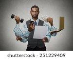 multitasking business man... | Shutterstock . vector #251229409