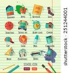 vector school workspace... | Shutterstock .eps vector #251244001