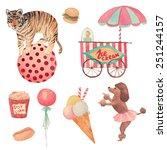 Watercolor Circus Set. Hand...