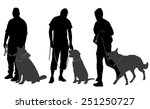 Stock vector man walking his dog silhouette on white background 251250727