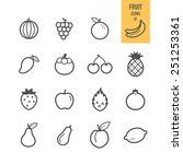 fruit icons. vector... | Shutterstock .eps vector #251253361