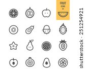 fruit icons. sliced fruit.... | Shutterstock .eps vector #251254921