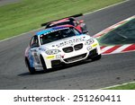 Small photo of BARCELONA, SAPIN - SEP 7: Team formed by Axel Burghardt, Liesette Braams and Michael Bonk races in a BMW M235i in the 24 Hours of Barcelona, at Catalunya Circuit, on Sep 7, 2014 in Barcelona, Spain.