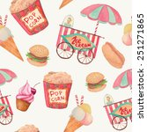 watercolor fast food pattern.... | Shutterstock .eps vector #251271865