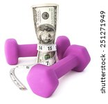 getting fiscally fit. dumbbells ... | Shutterstock . vector #251271949