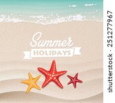 beautiful starfish on the beach.... | Shutterstock .eps vector #251277967