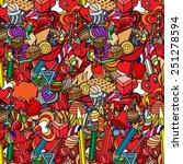 cute doodle seamless pattern.... | Shutterstock . vector #251278594