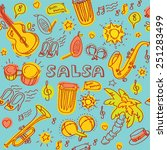 salsa music and dance colored... | Shutterstock .eps vector #251283499
