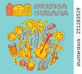 musica cubana  salsa music and... | Shutterstock .eps vector #251283529