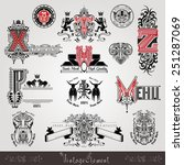 set vintage heraldic labels and ... | Shutterstock .eps vector #251287069
