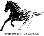 wild flaming stallion horse | Shutterstock .eps vector #251305231