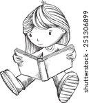 girl reading book sketch vector ... | Shutterstock .eps vector #251306899