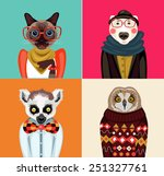 Animal Hipster Portraits  ...