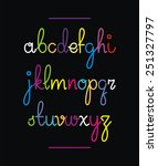 neon hand lettering drawn font. ... | Shutterstock .eps vector #251327797