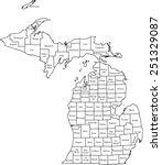michigan map | Shutterstock .eps vector #251329087