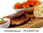 arrangement of roasted pork... | Shutterstock . vector #251344714
