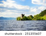 Stock photo view of urquhart castle and loch ness in the highlands of scotland 251355607
