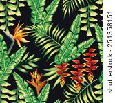 print exotic tropic plants and... | Shutterstock .eps vector #251358151