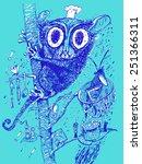 lovely small animal tarsier.... | Shutterstock .eps vector #251366311