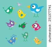 vector cute birds | Shutterstock .eps vector #251377741