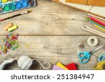 desk of an artist with lots of... | Shutterstock . vector #251384947