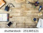 mix of office supplies and... | Shutterstock . vector #251385121