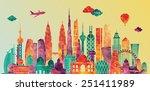 asia skyline detailed... | Shutterstock .eps vector #251411989