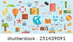 travel vacation flat design set.... | Shutterstock .eps vector #251439091