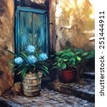Turquoise Door And Flowers...