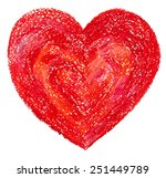 big red heart drawing by hand... | Shutterstock .eps vector #251449789