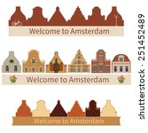 amsterdam houses. silhouette of ... | Shutterstock .eps vector #251452489