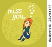 cute cartoon card with girl and ... | Shutterstock .eps vector #251466649