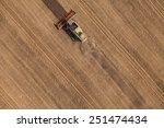 aerial view of combine on... | Shutterstock . vector #251474434